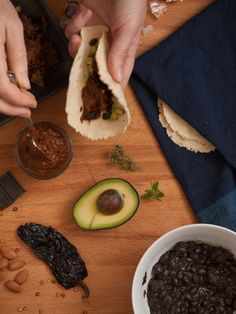 Homemade tortillas, mole coloradito, carnitas, and black turtle beans (with carnitas recipe) on Plant & Plate http://www.plantandplate.com/2014/10/carnitas-and-kismet/