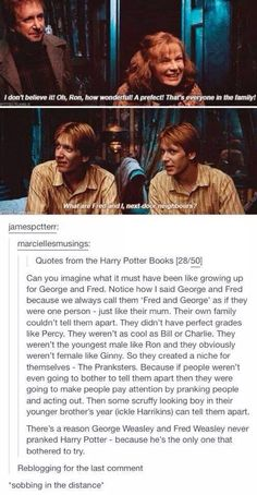 """There's a reason George Weasley and Fred Weasley never pranked Harry Potter - because he's the only one that bothered to try. Harry Potter Quiz, Harry Potter Universal, Sassy Harry Potter, Female Harry Potter, Drarry, Must Be A Weasley, Weasley Twins, No Muggles, Yer A Wizard Harry"
