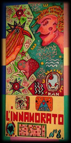 """- Dai miei Tarocchi """"L'airone arcobaleno"""" tecnica mista su legno - n° 6 - L'innamorato -  copyright©tutti i diritti riservati"""