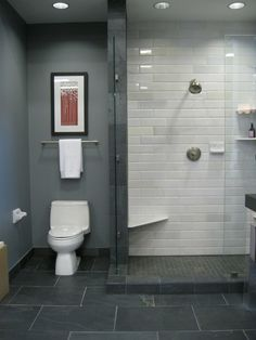 Standing Shower..no sliding door. stationary door. ledge with tile floor. slate tiles in a grey monochromatic bathroom