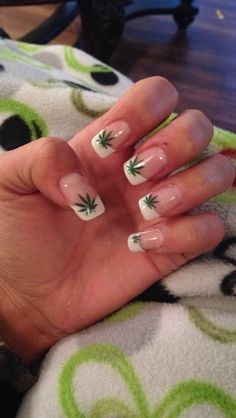 Marijuana leaf nails