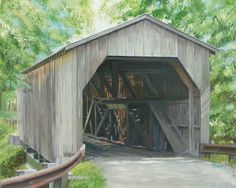 """The Lee's Creek Covered Bridge, in Mason county, KY., is thought to be one of Kentucky's oldest, built about 1835. Dover Lies between Maysville and Augusta, on the Ohio River. It is a 16"""" x 20"""" acrylic on art board. It is yet another of the Covered Bridges of Kentucky Series, having only two more paintings to complete!"""