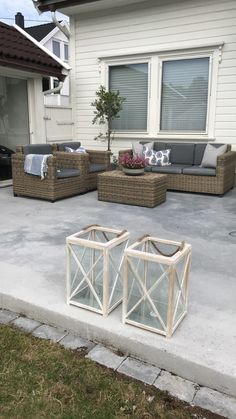 My outdoor space. Concrete patio made by my husband.