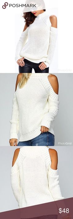⚜️Ivory Turtleneck Cold Shoulder Sweater ⚜️Ivory turtleneck cold shoulder sweater! Absolutely 😍 this item!!! So versatile to wear with jeans or suede/liquid leggings! 100% Acrylic. Looks amazing with a Navy blue Cable Knit Cardi (also avail. For purchase in my closet) Price is firm! Sweaters Cowl & Turtlenecks