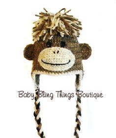Brown Monkey Crochet Hat