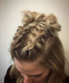 ❤️ See all 27 variations ❤️ Double Mohawk dutch braid into top knots / high Space buns half updos