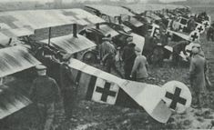 Fokker Dr1 Triplanes of Jasta 26 at Erchlin, France in February 1918: one of the most famous aircraft of the war, since both Richthofen and Voss died flying them.  Although highly manoeuvrable it was not that fast, and also quite fragile - by the end of the war few remained in service, the Fokker DVII having largely superceded it.