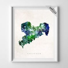 Sachsen Watercolor Map Print. Prices from $9.95. Available at www.InkistPrints.com #Sachsen #HomeDecor