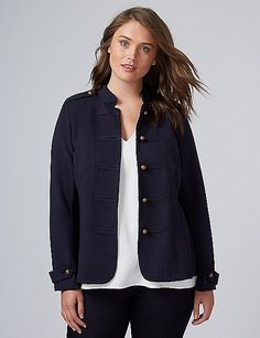 French Terry Military Jacket | Lane Bryant