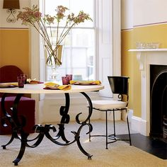Yellow, black and purple dining room