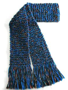 Blue Multicolor Scarf Long Chunky Knit Scarf Hand Knit by SticksNStonesGifts