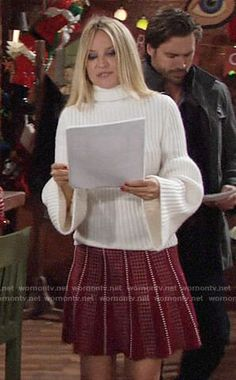 Sharon's white bell-sleeve sweater and red dotted skirt on The Young and the Restless.  Outfit Details: https://wornontv.net/86378/ #TheYoungandtheRestless
