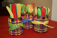 Creative Creations: A Crayon Themed Party - crayon utensil holders would be perfect for a Teacher Appreciation Breakfast or Luncheon