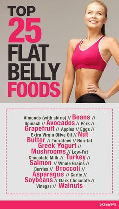 Keep these foods stocked in your kitchen--the Top 25 Flat Belly Foods.