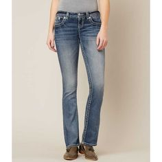 Miss Me Signature Slim Boot Stretch Jean - Blue 23/31 ($99) ❤ liked on Polyvore featuring jeans, blue, slim stretch jeans, stretchy jeans, slim fit bootcut jeans, embroidered jeans and slim jeans
