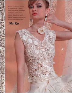 Vestido Crochet Pattern Verão vestido de renda do casamento Collar Saias Mulheres Floral Top Embelezamento Fashion Magazine 510