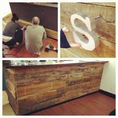 DIY Reclaimed barnwood Reception desk. There is plenty of lumber in Oregon to make this happen.