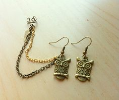 Antiqued bronze copper owl double piercing with ear cuff chain