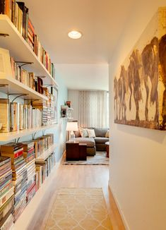 hallway bookshelves In need of some book storage ideas? Got enough Harry Potters, Game of Thrones (yes, that was a book first) and, er, copies of Real Homes mag to fill a library? Floor To Ceiling Bookshelves, Bookshelves Built In, Hallway Shelving, Custom Bookshelves, Bookcase Wall, Cottage Hallway, Book Storage, Storage Ideas, Apartment Entryway