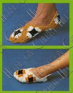 Slipper Crochet Pattern - granny square