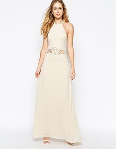 Enlarge Jarlo Aden High Neck Maxi Dress With Lace Insert