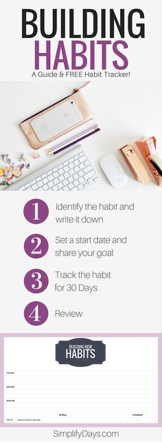 Building Habits: A guide & FREE habit tracker. // SimplifyDays.com