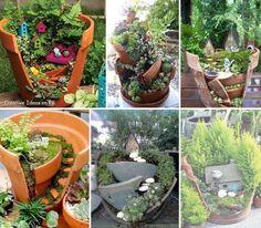 """Underbart sött till hemmet/trädgården! Kallas visst """"fairy garden"""" och skapas av trasiga krukor. Från: Facebook / Återbruka mera!"""