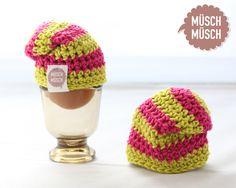 Auch kleine Eierköppe wollen cool aussehen! Dafür gibt's jetzt bunte Beanies! Immer im Doppelpack und 2-farbig gehäkelt. Nur 10,00 Euro bei MÜSCH-MÜSCH