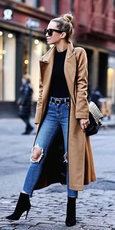 #fall #outfits brown coat