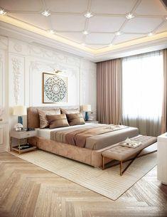 طراحی زیبا اتاق خوابهای مستر والدین Interior Ceiling Design, House Ceiling Design, Ceiling Design Living Room, Bedroom False Ceiling Design, Bedroom Ceiling, Modern Luxury Bedroom, Luxury Bedroom Design, Master Bedroom Design, Luxurious Bedrooms