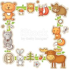 Buy Square Frame with Forest Animals by katya_dav on GraphicRiver. Square frame with cartoon forest animals, no gradients Cute Borders, Borders And Frames, Forest Animals, Woodland Animals, Bear Clipart, Vector Border, Family Drawing, Decorative Borders, Bear Cartoon