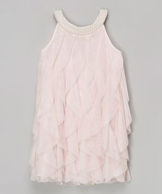 Look at this Pink Pearl Ruffle Yoke Dress - Girls on #zulily today!