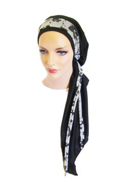 Tichel, Hair Snood, Head Scarf, Pre Tied Bandana Alternative: Black floral wrap jersey long . . see many more styles in shop. $24.99, via Etsy.