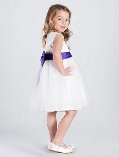 Girls ivory & purple bridesmaid dress