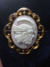RARE 9K c1860 Victorian hand carved Pink Shell Cameo Brooch Pin LOCKET  of Mythological Gods Cronus Zues of titans
