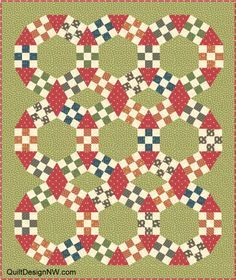 JACK'S CHAIN QUILT - triangles back to back create diamonds; chain makes  lens shape not