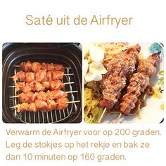 Saté uit de Airfryer. 10 minuten op 160 graden.   AK Multicooker, Cooking Recipes, Healthy Recipes, Air Fryer Recipes, No Cook Meals, Side Dishes, Healthy Lifestyle, Good Food, Brunch