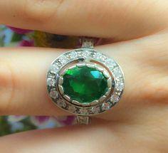 Bague émeraude, bague ancienne, bague Vintage, bague émeraude Antique, Antique Rings, bague en argent massif, bague Vintage vert