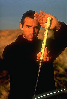 Met Adrian Paul  at the park where the Eiffel Tower is in Paris he was filming the Highlander and he was so nice