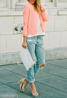coral blazer #srfashion