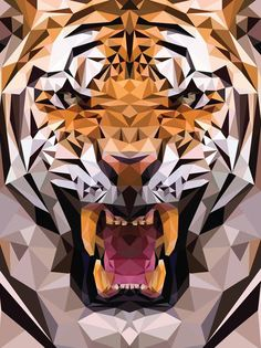 Funny pictures about Geometric Tiger Made From Triangles. Oh, and cool pics about Geometric Tiger Made From Triangles. Also, Geometric Tiger Made From Triangles photos. Art And Illustration, Geometric Tiger, Geometric Shapes, Polygon Pattern, Polygon Art, Ps Wallpaper, Tiger Wallpaper Iphone, Tiger Art, Art Graphique