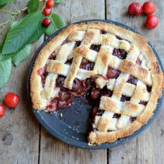 A delicious old-fashioned cherry pie that has an attractive lattice work topping with an egg white sugar glaze to make it extra crisp!