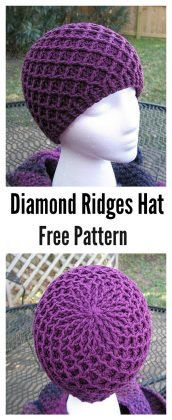 Crochet Beanie Patterns Waffle Stitch Crochet Diamond Ridges Hat Free Pattern by michael - The Waffle Stitch Free Crochet Patterns are great to have in your arsenal of different stitches. It has a beautiful texture and is great for blanket etc. Beau Crochet, Bonnet Crochet, Stitch Crochet, Crochet Beanie, Knit Or Crochet, Crochet Scarves, Crochet Crafts, Crochet Clothes, Crochet Stitches