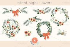 Check out Winter Clip Art Flowers and Wreaths by Citrus and Mint on Creative Market