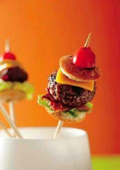 Mini burgers in skewers