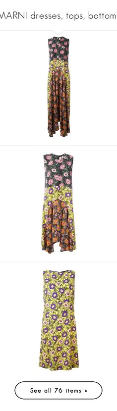 """MARNI dresses, tops, bottoms"" by lorika-borika on Polyvore featuring dresses, multicolour, floral printed dress, brown dresses, sleeveless dress, floral fit-and-flare dresses, floral pattern dress, colorful dresses, floral asymmetrical dress и zip back dress"