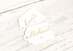 White place cards wedding place settings table setting Wedding Place Settings, Wedding Place Cards, Christmas Place Cards, Card Table Wedding, Gold Ink, Wedding Places, Name Tags, Table Cards, Wedding Favours