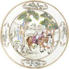"A Chinese Export porcelain famille rose ""Don Quixote"" dish, circa 1750. Photo Bonhams."
