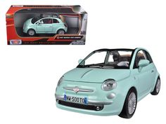 Fiat 500 Nuova Cabrio Green 1/24 Diecast Car Model by Motormax - Brand new 1:24 scale diecast model car of Fiat 500 Nuova Cabrio Green die cast car model by Motormax. Brand new box. Rubber tires. Detailed interior, exterior. Has opening hood and doors. Made of diecast with some plastic parts. Dimensions approximately L-6, W-3, H-3 inches. Please note that manufacturer may change packing box at anytime. Product will stay exactly the same.-Weight: 2. Height: 6. Width: 11. Box Weight: 2. Box…