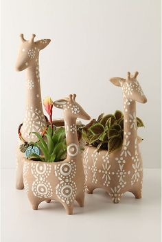 Anthropologie Plant Pots / Giraffe Stack. Ceramic, fun pattern, i like the idea of this